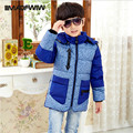 Children boys down jacket coat winter 2016 new boys casual patchwork thick warm boys winter clothing hooded zipper pocket coat
