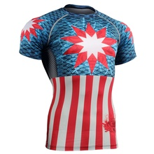 2016 Running Tops Shirts Sport Fitness Compression Shirt Men Superman Bodybuilding 3D T Shirt Gym Crossfit wear clothes