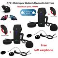 Free Shipping! 2 sets/Lot COLO-RC 1KM NFC Motorbike Helmet Bluetooth Intercom+L3 Remote +Soft Earpiece