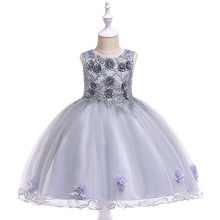 купить 2019 Summer Embroidered Flower Mesh Princess Dress Girl Birthday Party Wedding Dress kids Dresses For Girls Vestido Infantil дешево