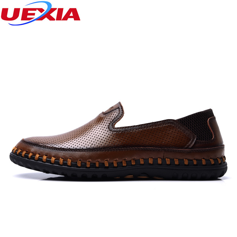 UEXIA New Outdoor Casual Shoes Men Hollow Hand Made Microfiber Flats Men Shoes Comfortable Flat Soft Light Doug lazy soft bottom bimuduiyu new england style men s carrefour flat casual shoes minimalist breathable soft leisure men lazy drivng walking loafer