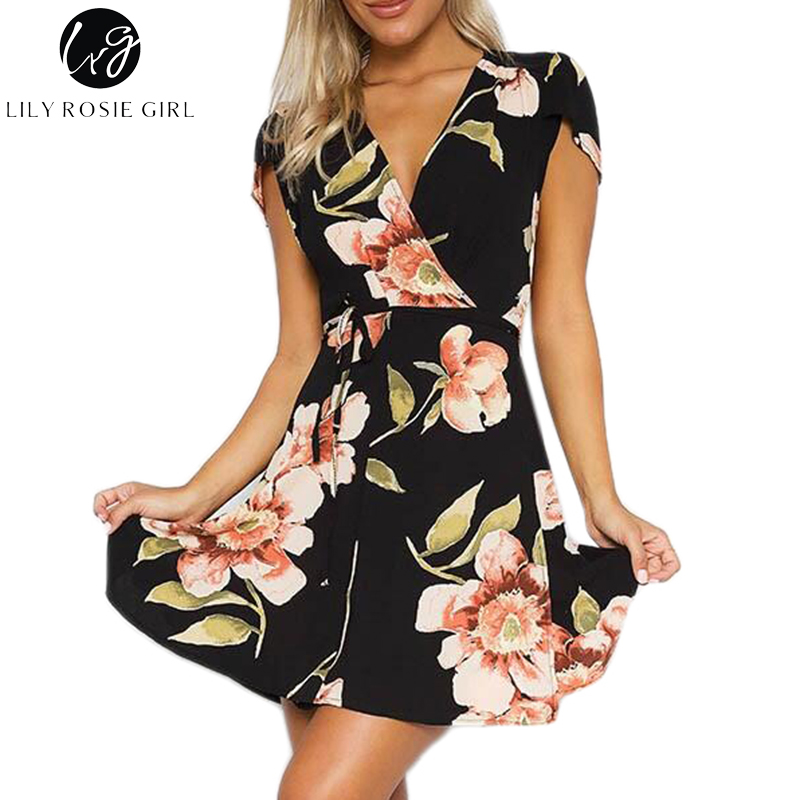 Lily Rosie Girl Deep V Neck Black Boho Floral Print Mini Dress Women Summer Beach Sexy Loose Short Warp Dresses Vestidos