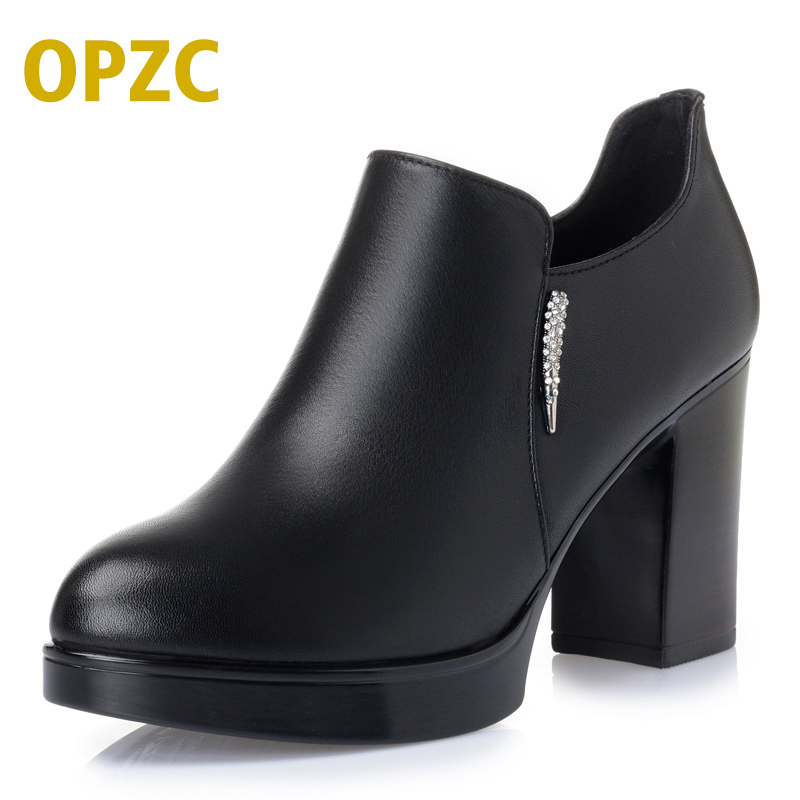 2018 thick heel platform round toe leather shoes small yards women genuine leather black high-heeled shoes female 2016 package with high heeled sandals women s shoes formal platform thick heel open toe shoe 40 43 plus size women s small yards