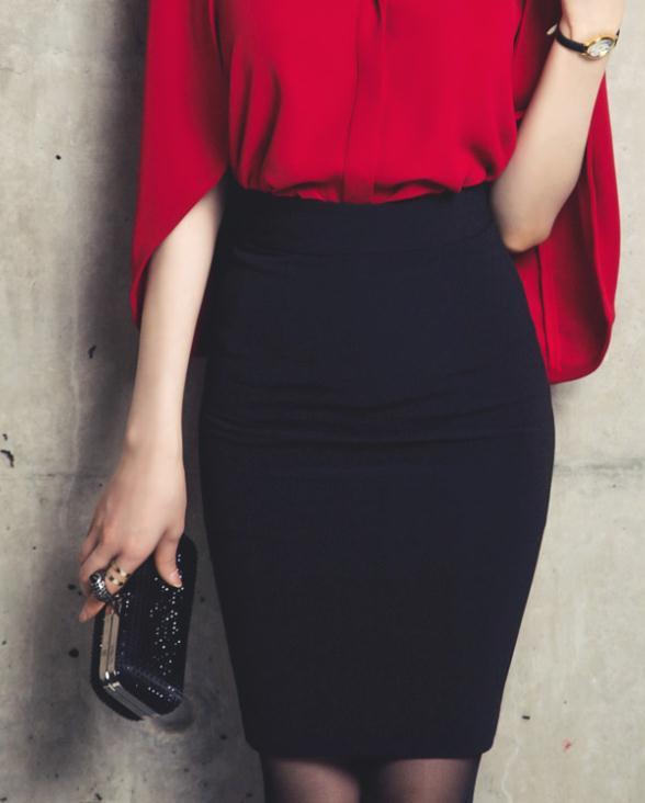 0859fa5a3f8730 € 11.72 5% de réduction|Élégant couleur unie OL jupe taille haute Slim  moulante moulante mi jupe femmes mode jupe noir livraison directe ...