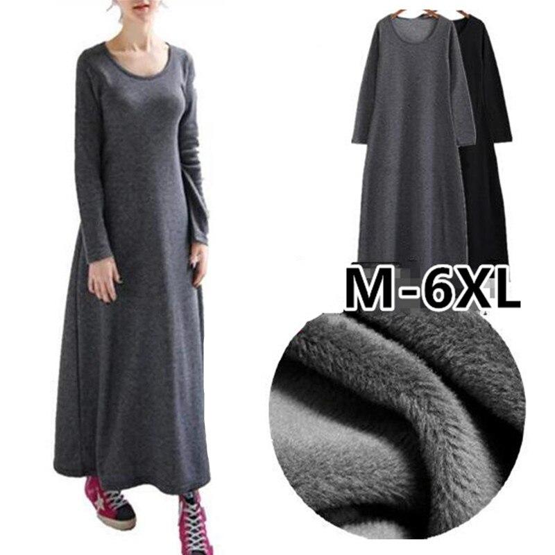 Женское зимнее платье с длинным рукавом, длинное теплое флисовое платье большого размера M 5XL 6XL, 2020