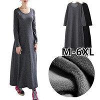 2018 Thickening Women Winter dress,long Sleeve Autumn maxi dress,Plus size M 5XL 6XL Warm Fur Fleece women basic dress vestidos