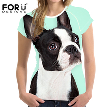 FORUDESIGNS T Shirt Trainer Running Women Tops Cute Boston Terrier Printing Breathable Short Sleeve Sport Sweatshirts for Ladies
