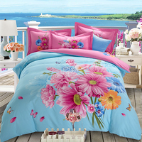 Pink Peony Daisy Tulip Flowers Print Blue Bedding Set 4pcs Queen King Size Brushed Cotton Duvet Cover Pillowcase Bed Sheets