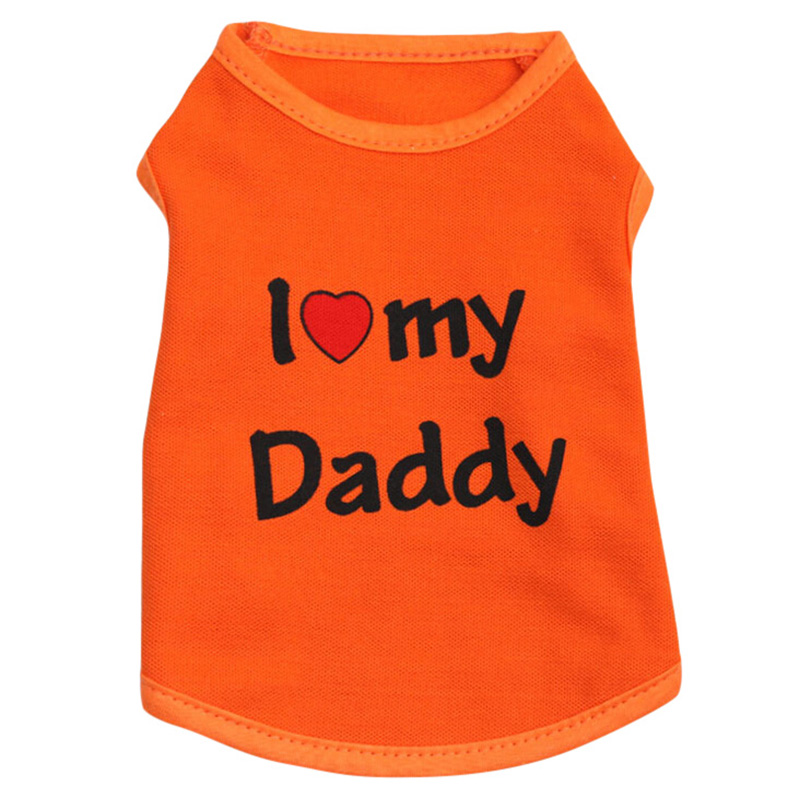 Small Pets Dog Clothed Vest Puppy Doggy Cotton Blend Vest I LOVE DAD MOM Printed Dog Cats Costumes XS S M L LH8s