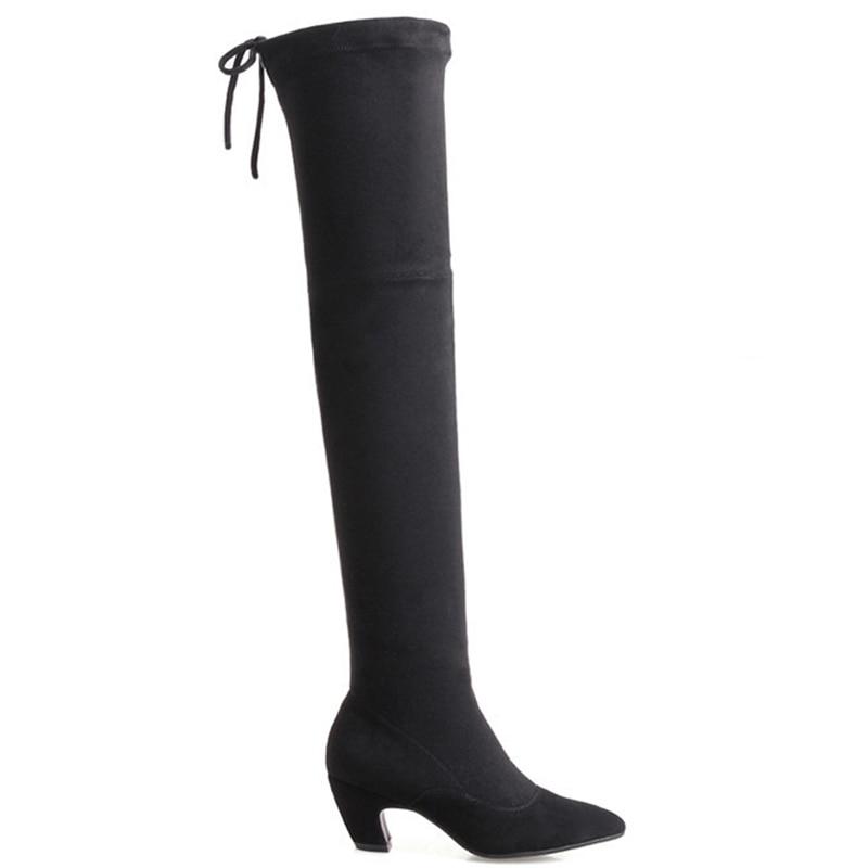 Plus La Beige En À Cuissardes Hiver noir Talons Femme Bottes Taille Noir Sexy 41 Chaussures Hauts Sur Genou Véritable Cocoafoal Mode Cuir Le AxZ06w1A