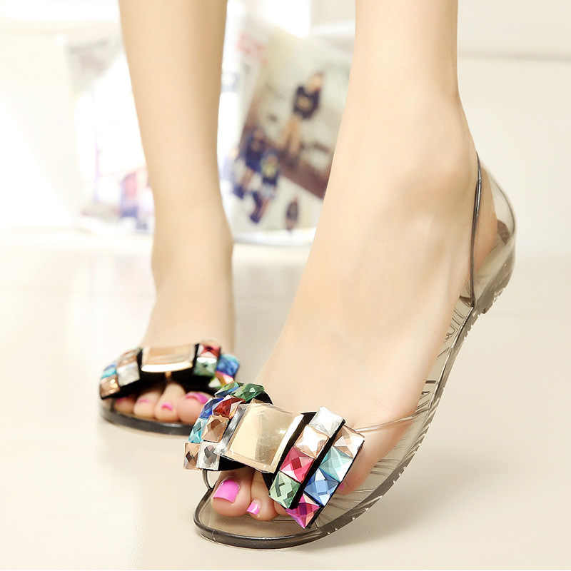 97293f5fa211 ... Quanzixuan Women Shoes Summer Bowtie Jelly Shoes Transparent Women  Sandals Flat ...
