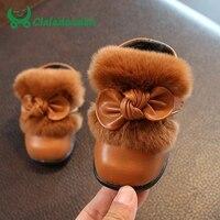 Claladoudou 11.8-13.8 센치메터 여자 아기 첫번째 워커 레드 토끼 모피 발목