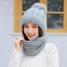 SUOGRY Winter Accessories for Women Thick Warm Beanie Hat Scarf Set Ladies Knitted Wool