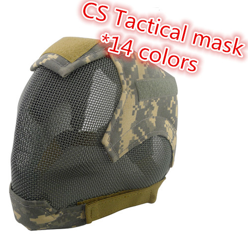 V6 High Quality Steel Net Mesh Masks Full Face Protective Cosplay Tactical Mask Cover Face Ears Airsoft Military Paintball Mask
