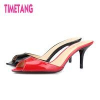 TIMETANG 2018 Sexy Peep Toe High Heel Women Slides High Quality 7cm Thin Heel Cool Slippers