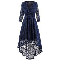 Women S Vintage Dresses 2018 New Spring Fall Black Lace Asymmetrical Sexy V Neck Burgundy Elegant