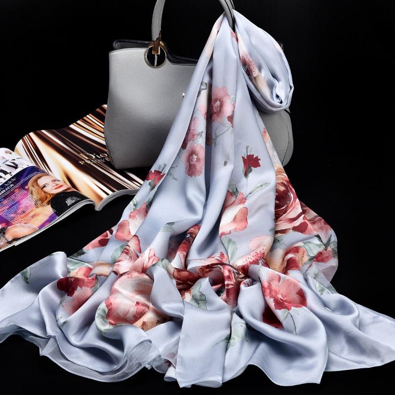 Hangzhou naturel Double foulard en soie pour les femmes marque de luxe 100% vraie soie foulards dames Pure soie écharpes châles enveloppes