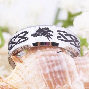 Image 5 - Ring Wemen männer Klassische Jäten Ring Für Männer 8MM Legende von Zelda & Wolf Silber Bevel Mode Wolfram engagement Silber Ring