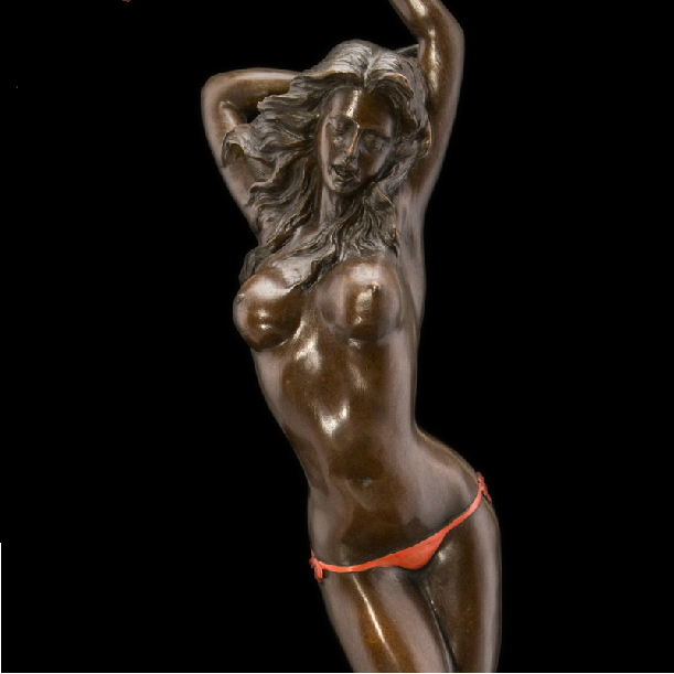 Atlie Bronzes Pure Handmade Antiques Sexy Lovely Girl -9629