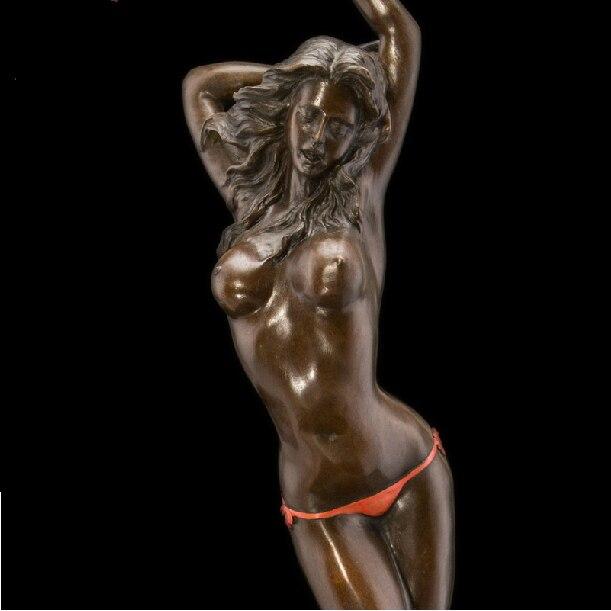 Atlie Bronzes Hecho A Mano Puro Antiguedades Sexy Chica