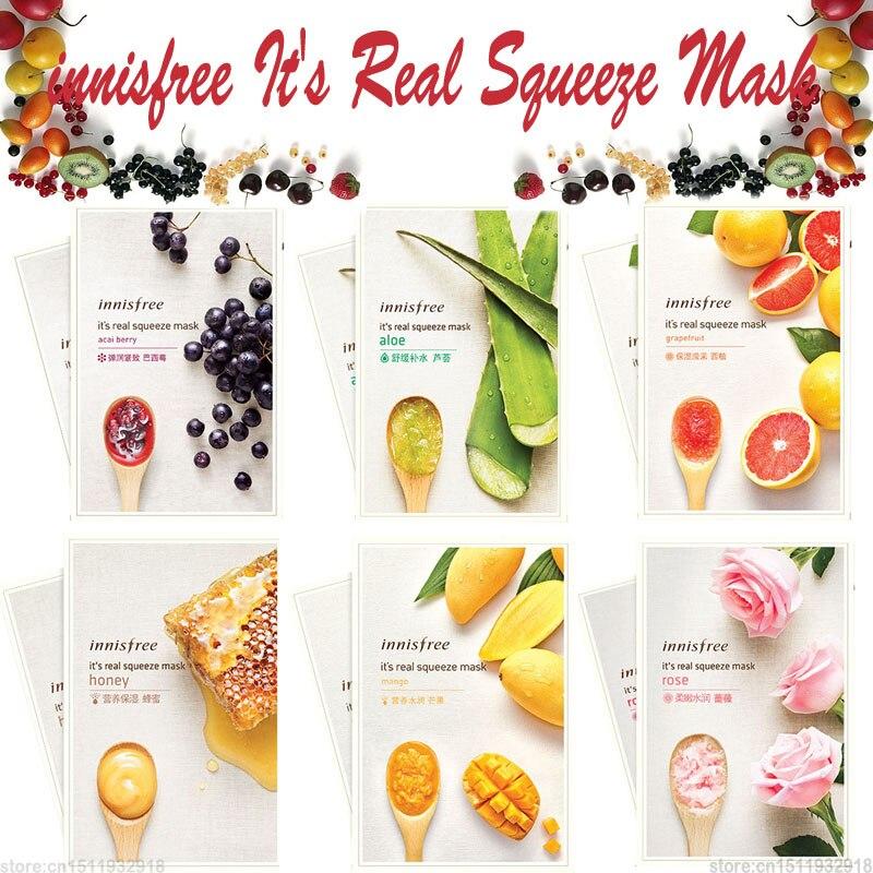 6PCS/Lot It's Real Squeeze Mask Moisturizing Sheet Mask Anti-Aging Smooth Skin Innisfree Korea