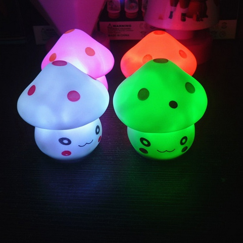 LED Night Light Colorful Mushroom Cartoon Press Down Bedroom Desk Bedside Lamp for Baby Kids Birthday Christmas Gifts