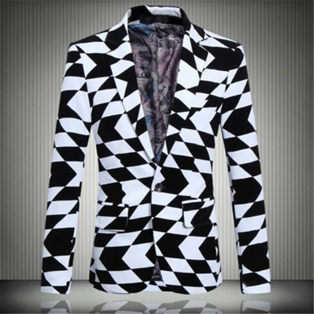f98aded934d Korean men s large size casual black and white jacquard suit jacket fashion  casual Blazers singer costumes