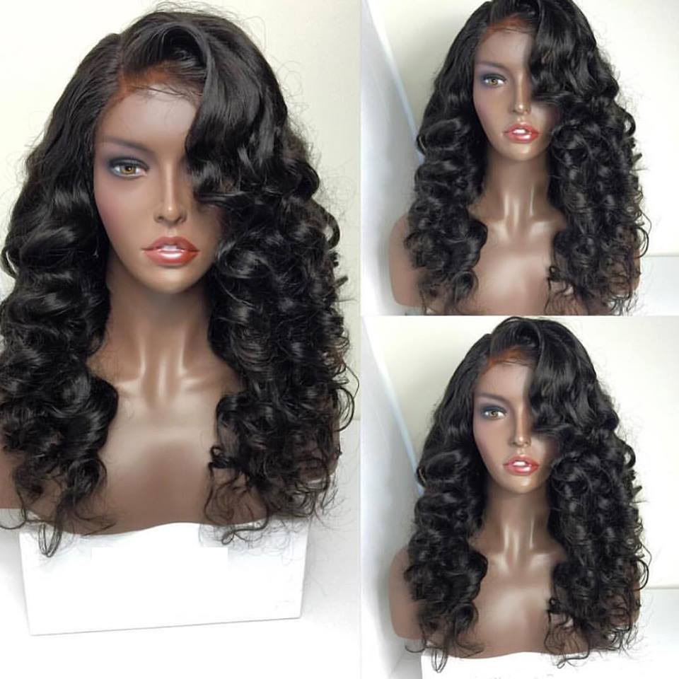 Side Part Fashion Heat Resistant Hair Wig 130 Density Natural Black Color Deep Curly Synthetic Lace