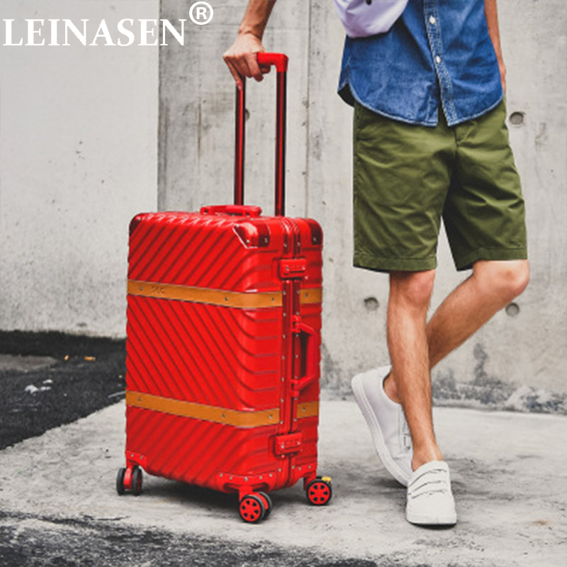 Hard Case Suitcase Universal Wheel Carry On Luggage Abs Pc Aluminum Frame Drawbar Box 20 Inch Boarding Hardside Travel Luggage