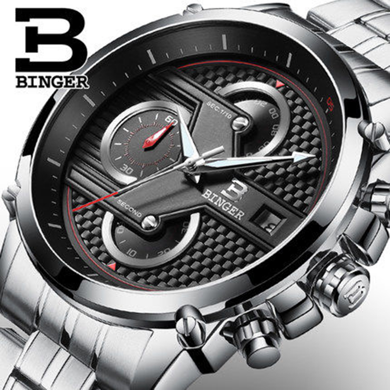 Genuine Luxury Switzerland BINGER Brand Mens Fashion Sports Quartz Chronography Watch Male Luminous Waterproof Table Stopwatch