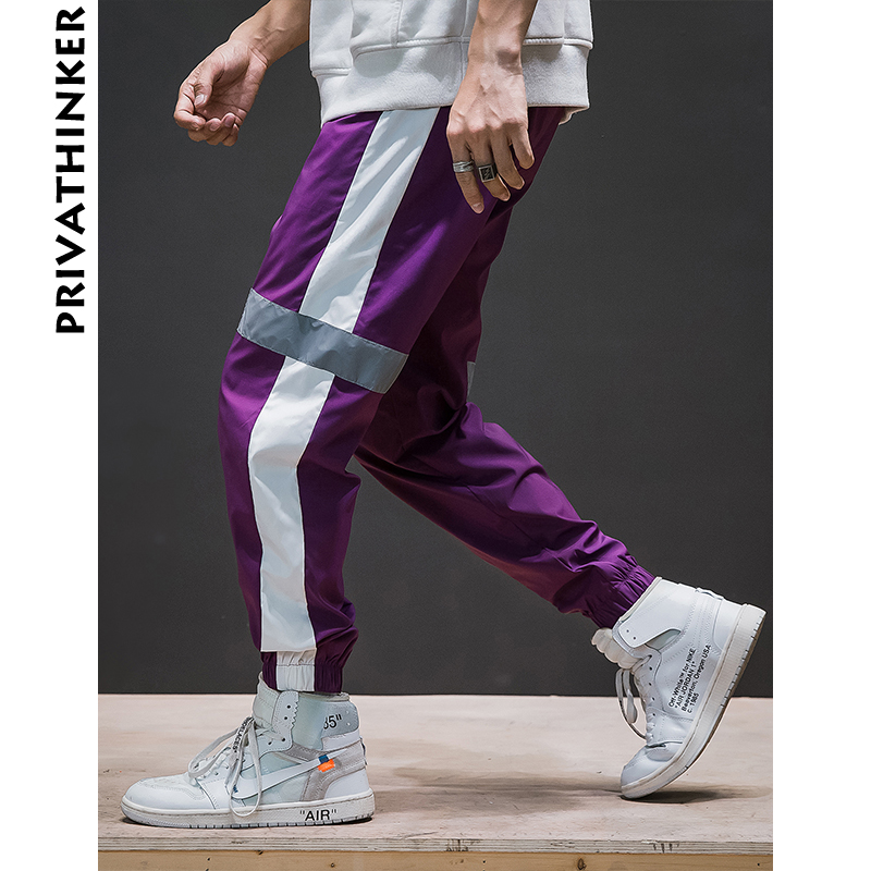 80d84088adec Cheap Pantalones Harem de rayas laterales de Privathinker para hombre 2018  pantalones de chándal negros reflectantes