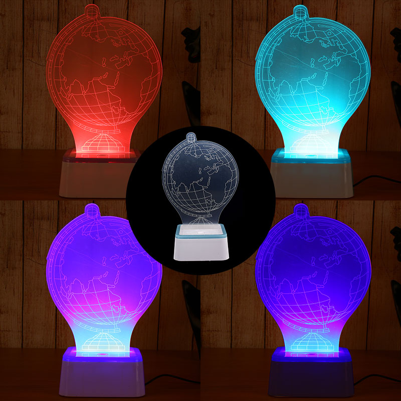 Modern Table Lamp Globe 3D LED Colorful USB Charging Decoration Atmosphere Art Kid Christmas Xmas Touch Control Gifts image