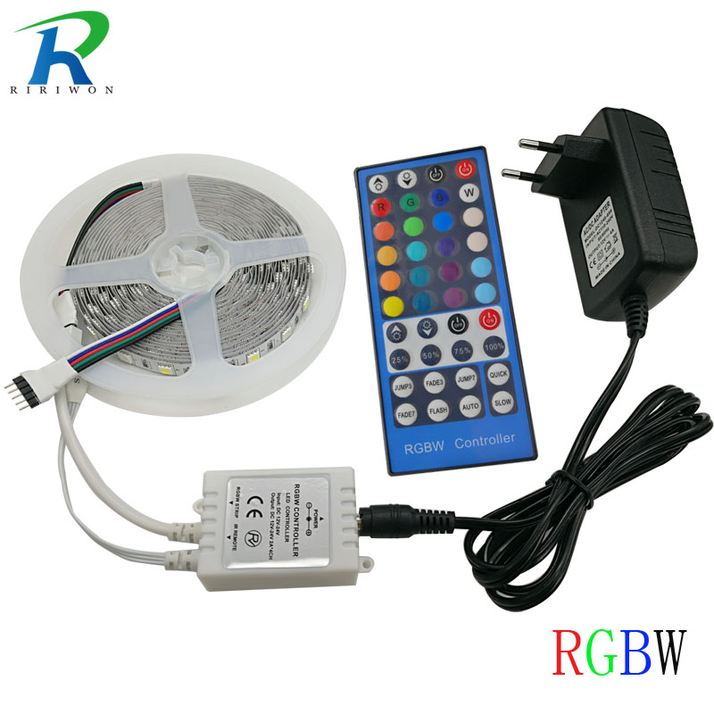 RiRi won smd RGB LED Strip Light 5m 5050 60leds/m RGBW led lighting led tape diode ribbon controller DC 12V Adapter set