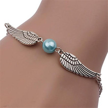 Stijlvolle Wilde Armband Fashion Vrouwen Retro Pearl Angel Wings Trendy Sieraden Duif Vrede Armband Lady Hoge Kwaliteit Armband L0330(China)