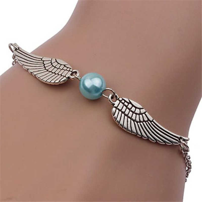 Stylowa dzika bransoletka moda kobiety Retro perła skrzydła anioła modna biżuteria Dove bransoletka pokoju pani wysokiej jakości bransoletka L0330