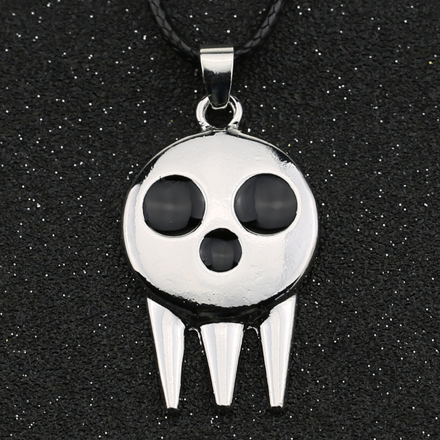 Soul Eater Necklace Death the Kid Skull Ghost Logo Silver Color Black Enamel Pendant Fashion Vintage Hot Anime Jewelry