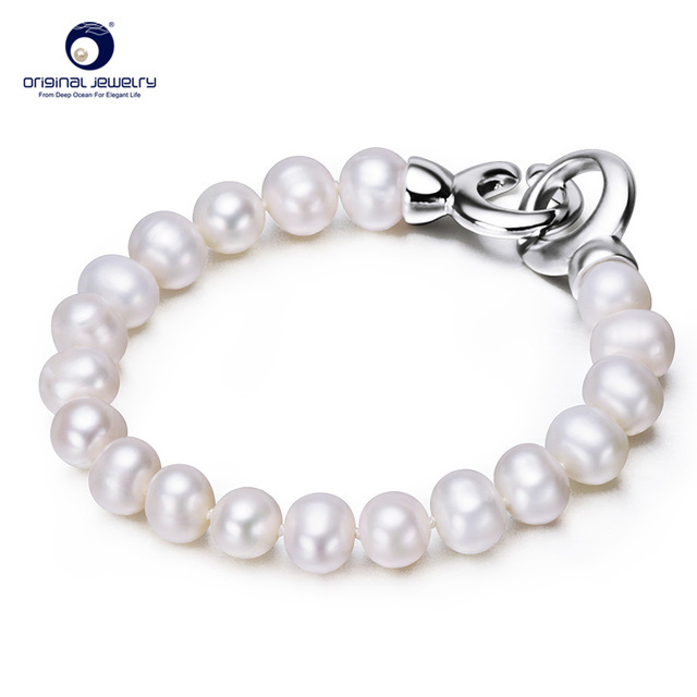 [YS] Fine Jewelry 8-9mm Genuine Natural Freshwater Cultured Pearl Charm Bracelets Classic Hand Ring Decorations Free Shipping