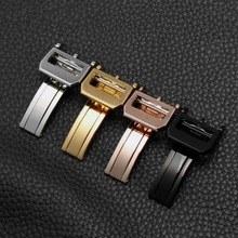 купить 18mm High Quality 316L Stainless Steel Butterfly Watch Band Buckle Strap  Rose Gold Silver Folding Clasp For IWC Replacement по цене 585.53 рублей
