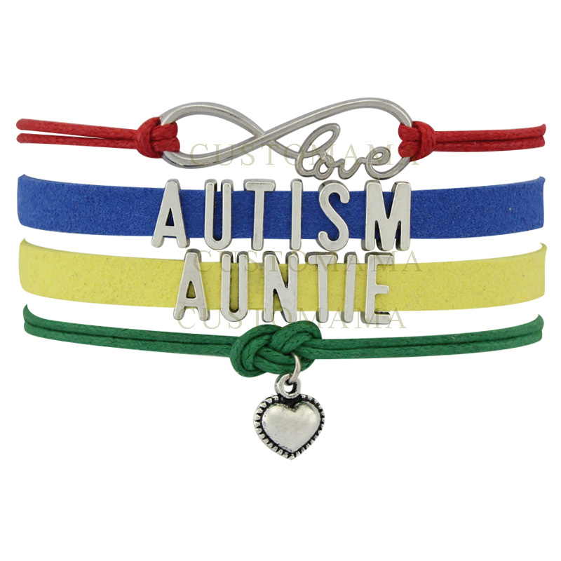 (10 PCS/Lot) Infinity Love Autism Auntie Awareness Ribbon Charms Bracelets For Women Men Jeweley Gift Colorful Leather Bracelet