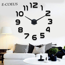 2018 New Fashion 3D Big Size Wall Clock European Style Chic 3D Big Digital  Free Shipping Modern Decoration Wall Clocks free shipping 60058s modern european style electroplated egg round shape 3d dot pendant lamp