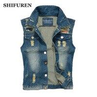 SHIFUREN Big Size M 5XL Ripped Jeans Vest Motorcycle Biker Cotton Denim Vest Male Single Breasted Cowboy Frayed Waistcoat