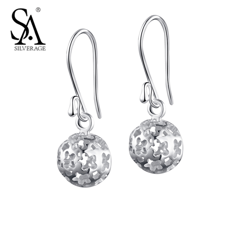 SA SILVERAGE 925 Silver Drop Earrings For Women Female Hollow Ball Hook Brincos Real Sterling Silver Fine Jewelry Party Gift