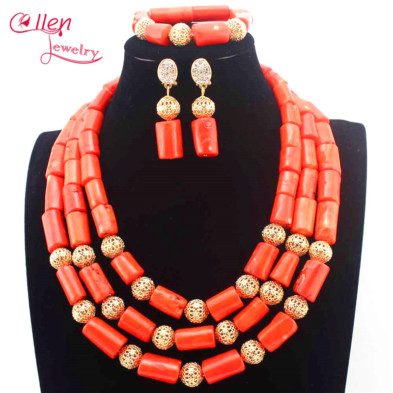 цены Costume African Jewelry Set Dubai earrings Natural Coral Nigerian Wedding Indian Bridal Necklace Set Free Shipping E1099