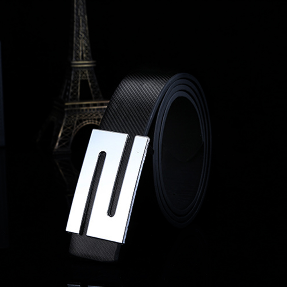Unisex Fashion Girdle Buckle Casual Waistband Imitation Leather Smoothing Lock Letters For Men Belt