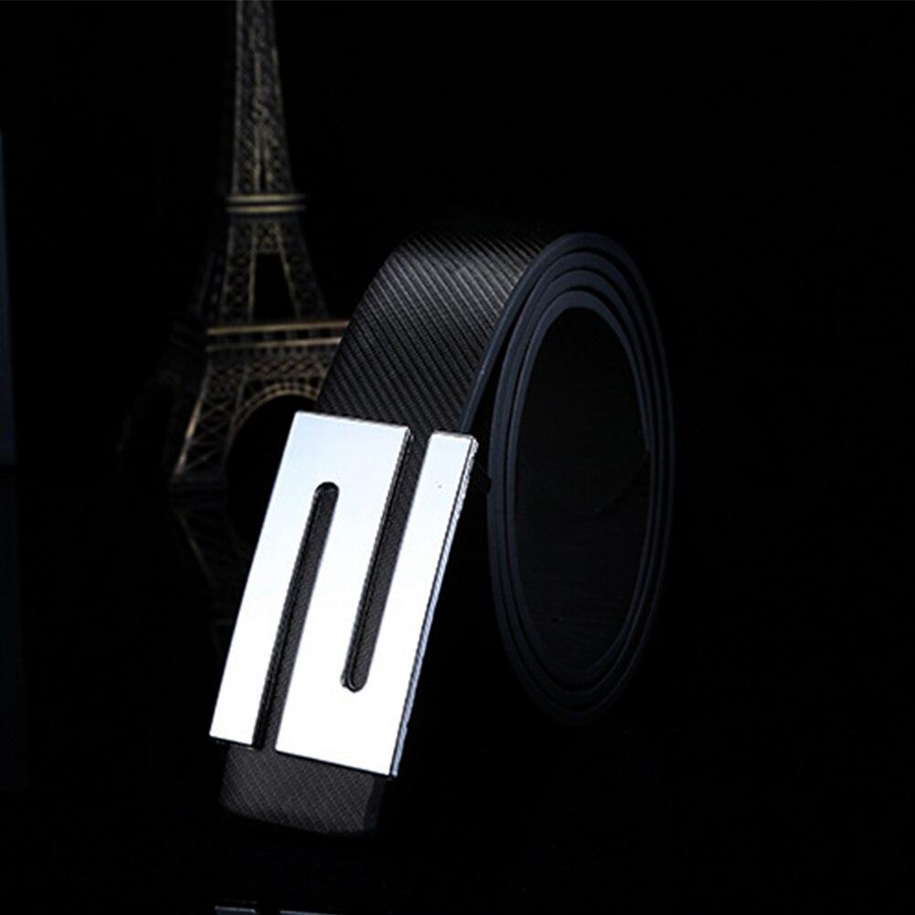 Unisex Fashion Girdle Buckle Casual Waistband Imitation Leather Smoothing Lock Letters For Men   Belt