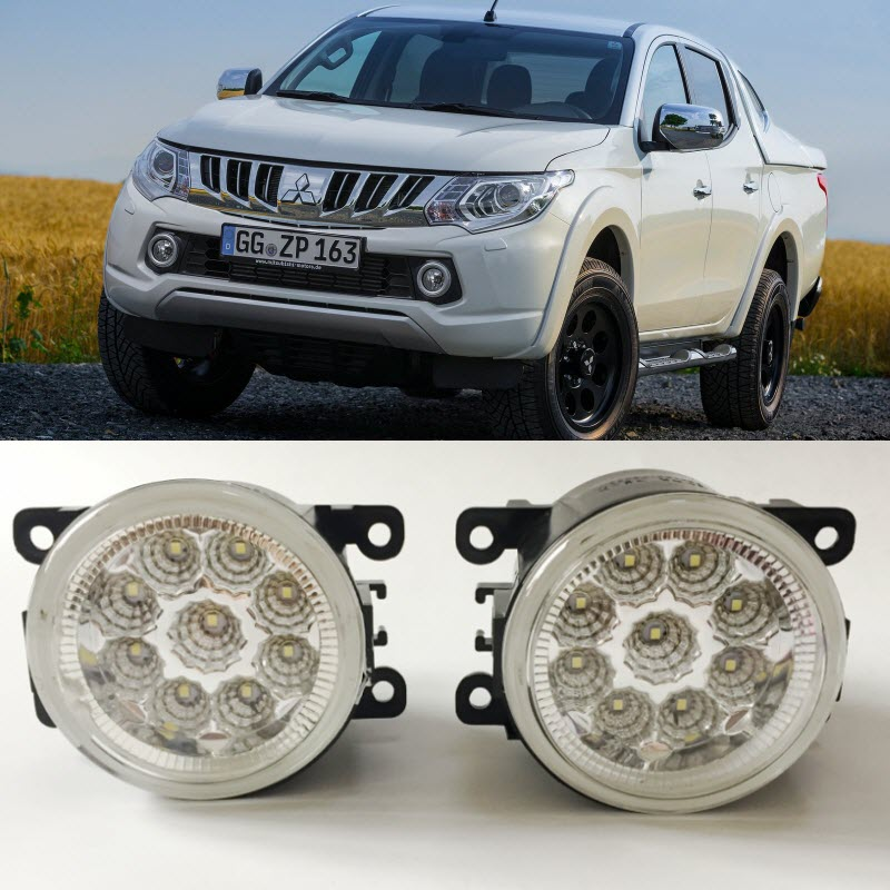 For Mitsubishi L200 Triton Strada Fiat Fullback RAM SMD 9 Pieces Leds Chips LED Fog Light Lamp H11 H8 12V 55W Halogen Fog Lights