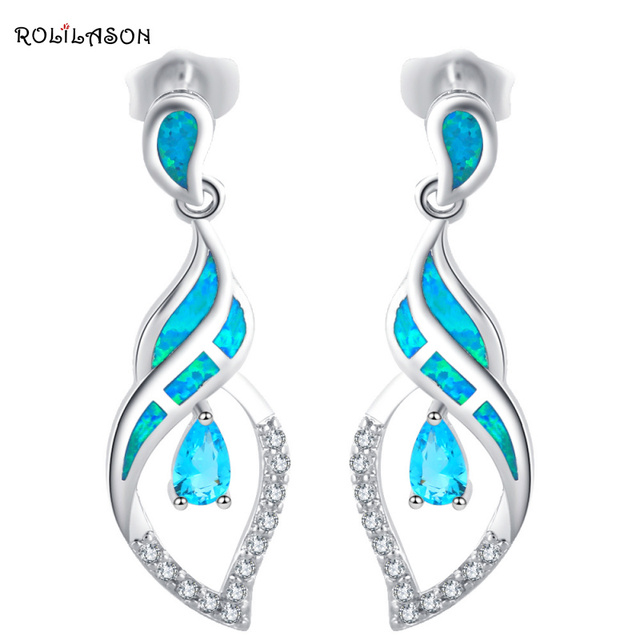 Zirconia bijoux earrings for women Blue zirconia Fashion Jewelry Blue Fire Opal Silver Stamped Crystal Drop Earrings OE406