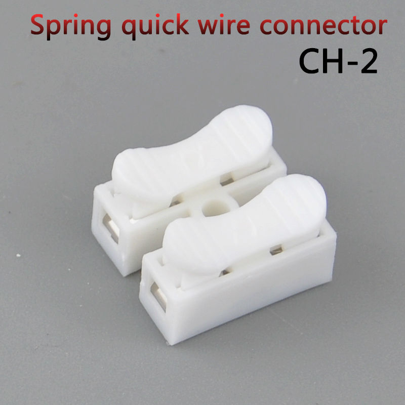 10PCS CH-2 Press type 2 pin spring quick cable connector wire connector terminal 1000pcs dupont jumper wire cable housing female pin contor terminal 2 54mm new