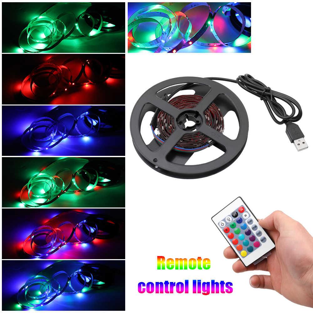 5050 RGB свет 5 в 2 м USB светодиодные полосы света гибкие не-водонепроницаемые вечерние украшения дома с пультом дистанционного управления