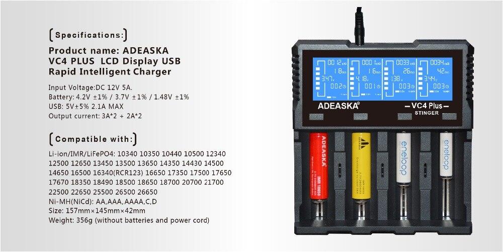 XTAR VP4 Smart Intelligent LCD Battery Charger 4 Slot Universal for 18650